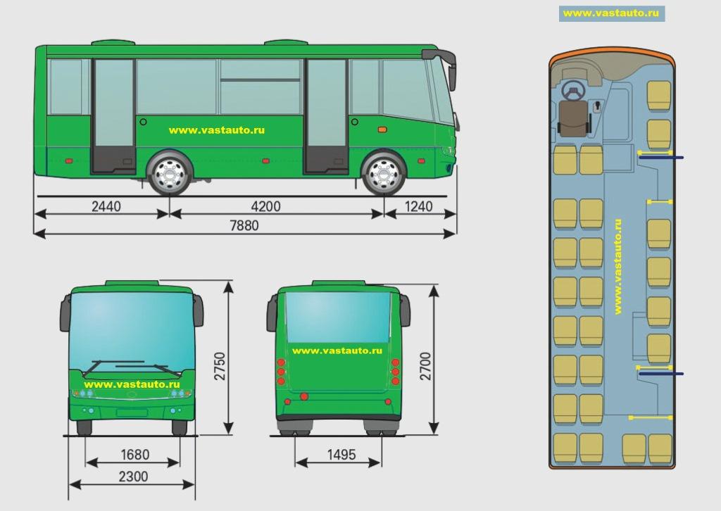 Габаритные размеры автобус