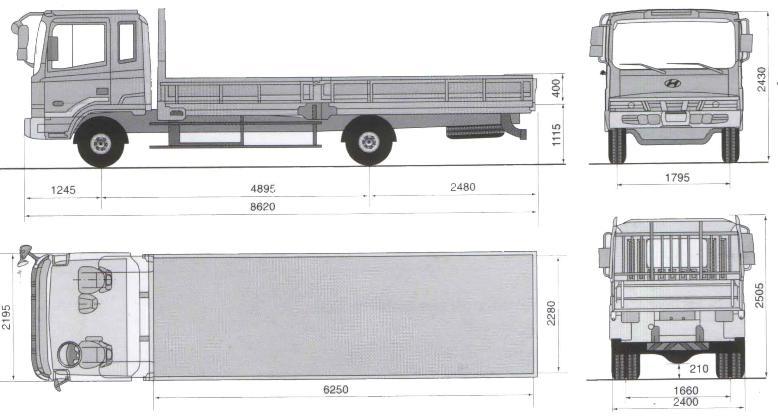 Габаритные размеры шасси HYUNDAI HD120 EXTRA LONG