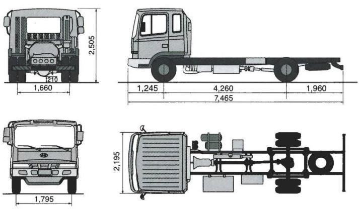 Габаритные размеры шасси HYUNDAI HD120 LONG