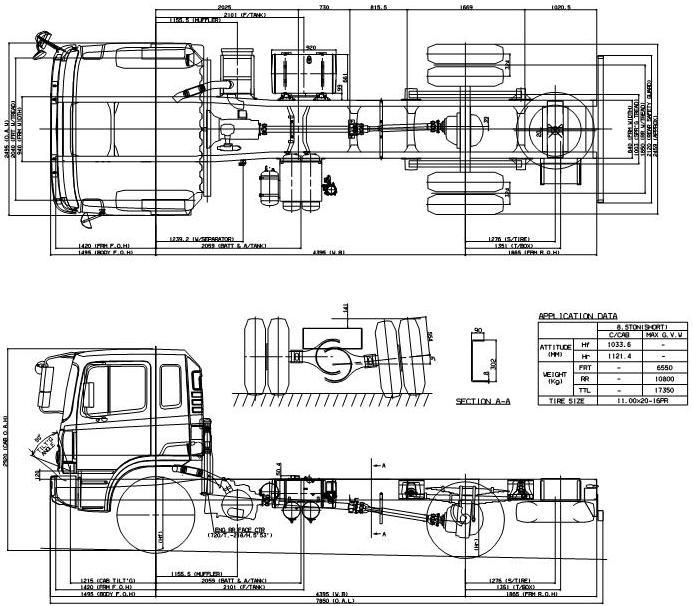 Габаритные размеры шасси HYUNDAI HD170 SHORT