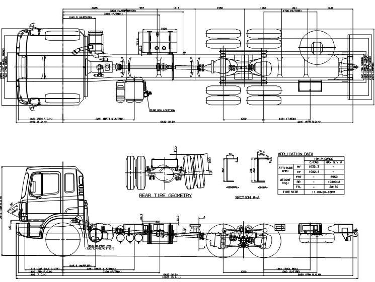 Габаритные размеры шасси HYUNDAI HD250 LONG