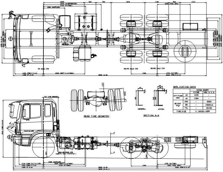 Габаритные размеры шасси HYUNDAI HD260 MEDIUM