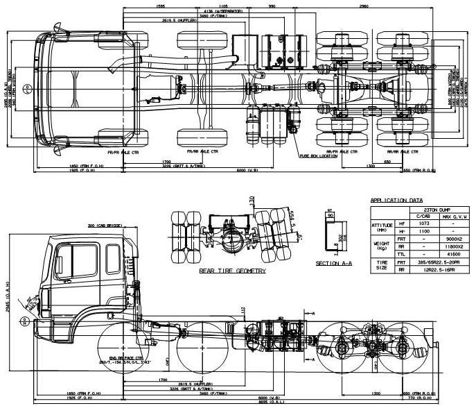 Габаритные размеры шасси HYUNDAI HD370 MIXER