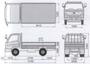 Габаритные размеры шасси HYUNDAI HD78 DLX SHORT EURO-3